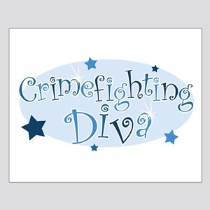 """Crimefighting Diva"" [blue] Small Poster"